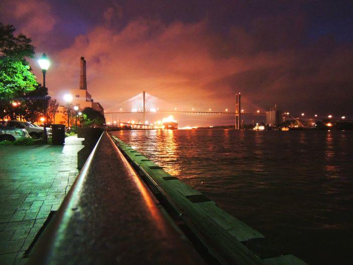 Illuminated Vew From My Eyes Night City Water Sky Cityscape
