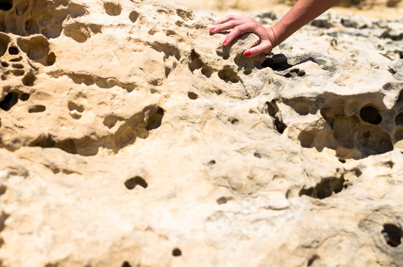 The smooth touch of a woman's hand on rough ground. Woman Nature Manicure Arm Day Human Hand Outdoors Smooth Skin Touch Feel Rock Climbing Scrambling Outdoors Soft And Rough Rock Erosion Weathered Rocks Human Body Part Human Fingers Feminine  Rough Terrain Texture Beauty Smooth Hand And Grip Sense Of Touch