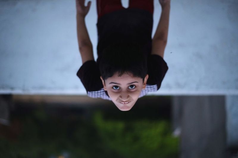 High angle view portrait of boy