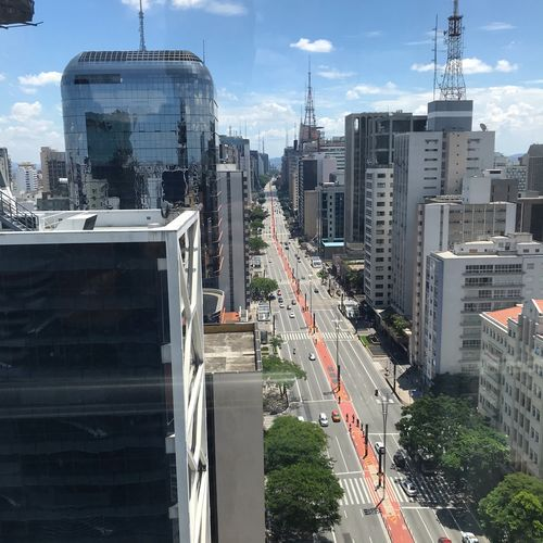 Avenida Paulista Built Structure City Architecture Building Exterior Office Building Exterior Transportation Skyscraper Sky Building Cityscape Modern Mode Of Transportation Tall - High High Angle View Road Street Land Vehicle Tower Day Nature