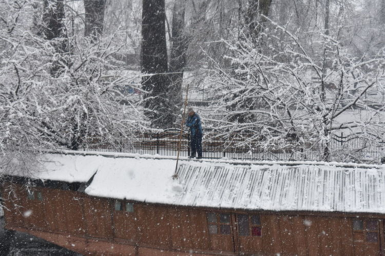 A kashmiri muslim boat man removes snow from his boat during heavy snowfall in srinagar Tree Water Snow Cold Temperature Winter Men Motion Standing