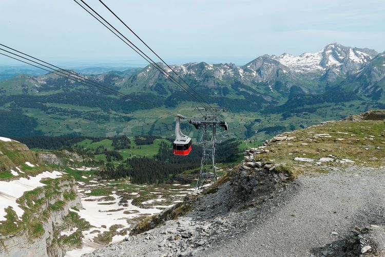 Mountain Overhead Cable Car Scenics - Nature Cable Car Mountain Range Beauty In Nature Nature Cable Transportation Sky Day Environment No People Mode Of Transportation Non-urban Scene Snow Connection Outdoors