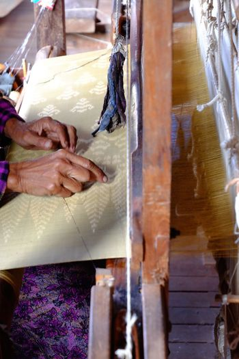 Cropped Image Of Woman Working In Textile Industry