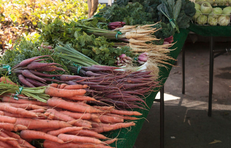 Close-up of various vegetables for sale in market