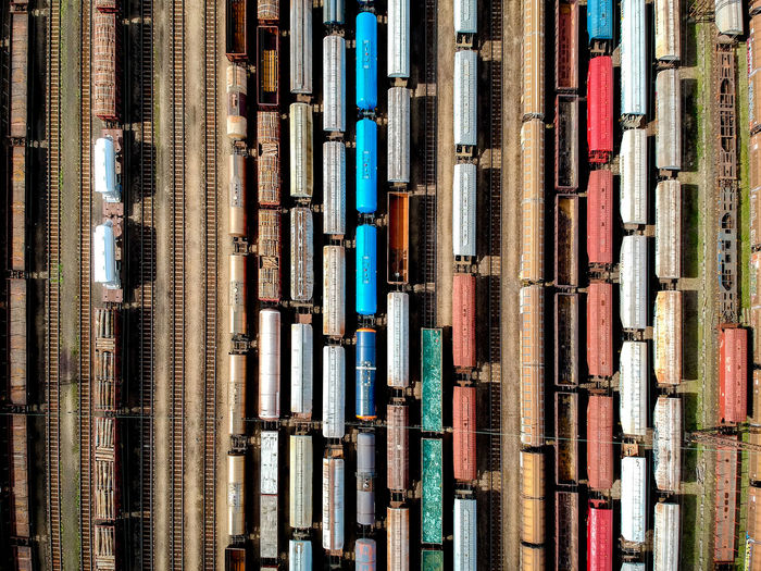 Directly above shot of freight trains shunting yard