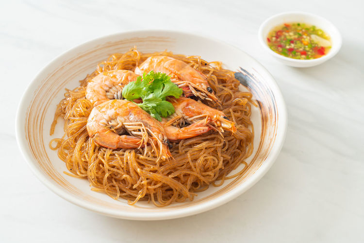 High angle view of noodles served in bowl