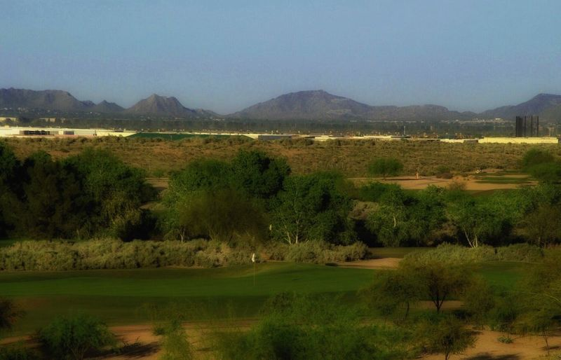 Golf Golf Course Greenery Grassland Desert Landscape Blue Sky Landscape_photography Mountains And Sky