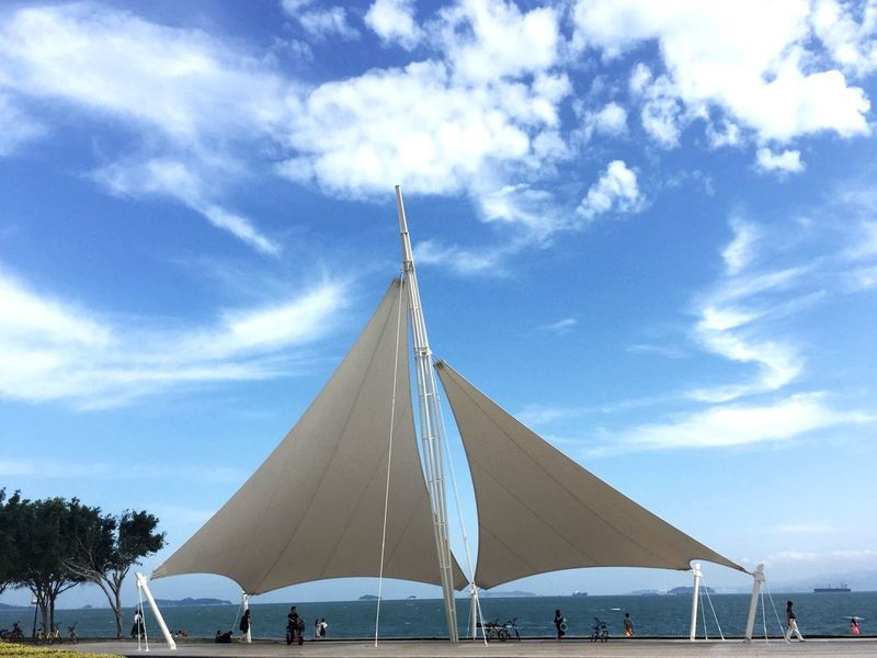 Sky Cloud - Sky Day Beach Outdoors Blue Water Sea Vacations Tent No People Nature Nautical Vessel Architecture