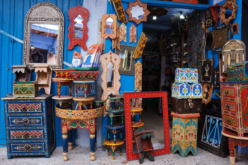 Crafts Market Medina Morocco Travel Art And Craft Bluecity Chefchaouen Colorful Creativity Decoration Furniture Interior Details Multi Colored No People Place Of Worship Tourism