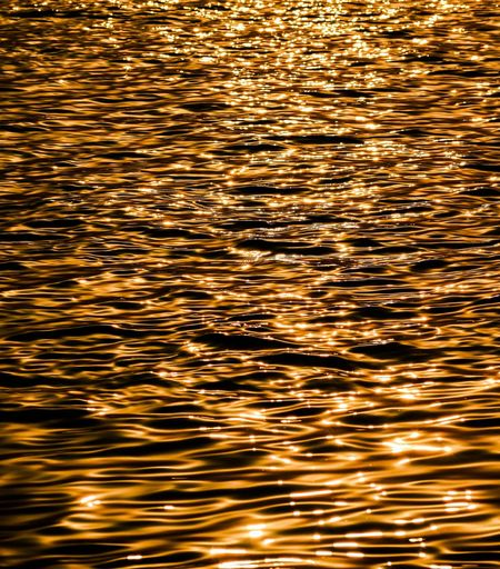 The color of the sunset was sprinkled on the river Rippled Backgrounds Reflection Water Waterfront Full Frame Wave Pattern Lake No People Gold Colored Outdoors Nature Sunset Beauty In Nature Refraction Day Freshness
