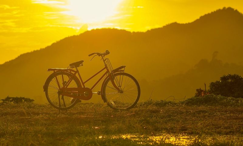 Transportation Land Vehicle Plant Mode Of Transportation Bicycle Sky Nature Sunset Beauty In Nature Mountain Stationary Tree Sunlight Orange Color Land Scenics - Nature Outdoors Landscape No People Field