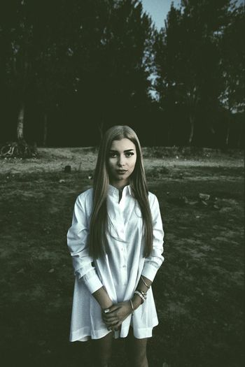 Evening portrait of sadness Young Lady Art Artistic Photo Artistic Portrait Cute Evening Glamour Looking At Camera Moody One Person Outdoor Portrait Outdoors Portrait Pretty Real People Sadness Standing Tree White Shirt Young Adult Young Women