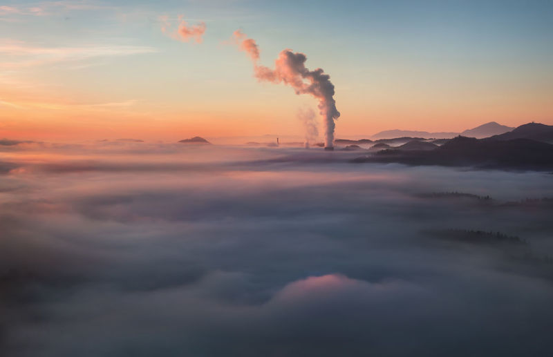 Air Pollution Atmospheric Beauty In Nature Cloud - Sky Ecosystem  Environmental Issues Factory Industry Nature Orange Color Outdoors Power In Nature Scenics - Nature Sky Sunrise