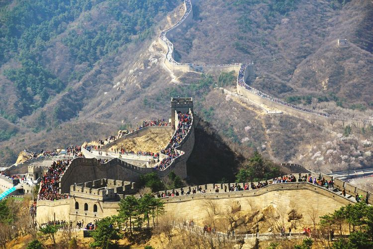 High angle view of tourists at great wall of china