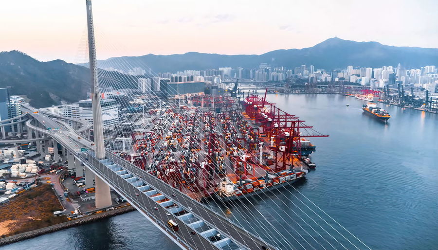 High angle view of commercial dock in city