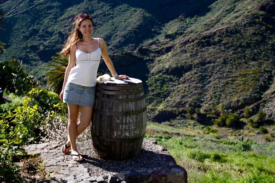 Adventure Barrel Canary Islands Winelovers  Full Length Girl Landscape Leisure Activity Lifestyles Masca Mountain Nature Non-urban Scene Outdoors Portrait Smile Smiling Tenerife Toothy Smile Tourist Vacations Wine Wine Barrel Young Women Masca, Tenerife