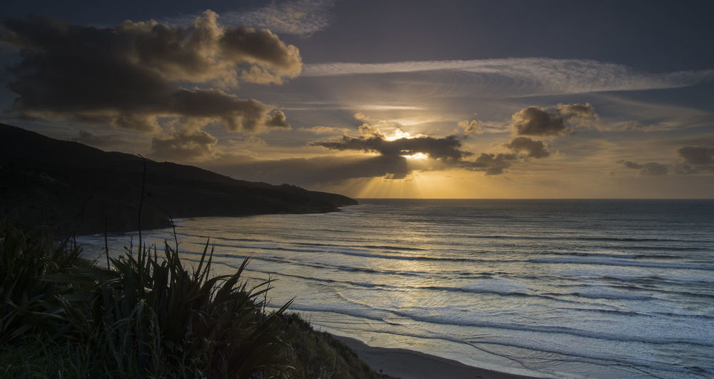 Sunset Cloud - Sky Water Outdoors Sea Beach Raglan Nz Raglan Landscape Seascape