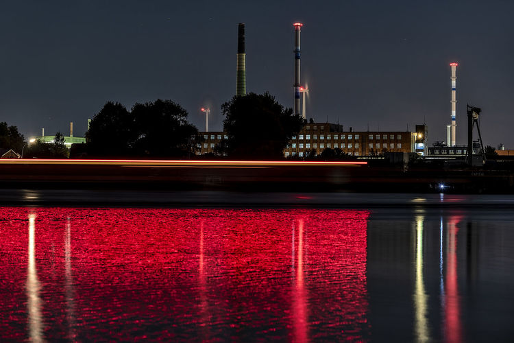 trace of light Capture Tomorrow Elbe River Architecture Illuminated Building Exterior Built Structure Water Reflection Night Sky No People Red Industry Long Exposure Waterfront Factory Nature River City Outdoors Smoke Stack