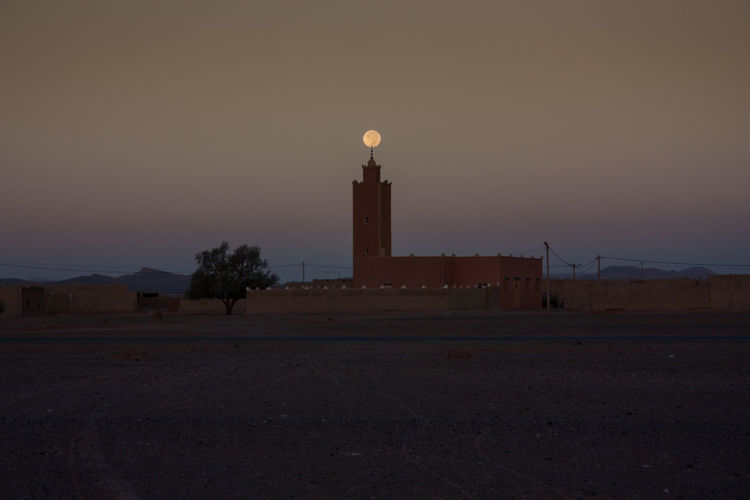 Desert Morocco Architecture Astronomy Building Exterior Built Structure Dawn Eternity Illuminated Infinity Khamlia Merzouga Moon Moonset Mosque No People Outdoors Sahara Sunrise