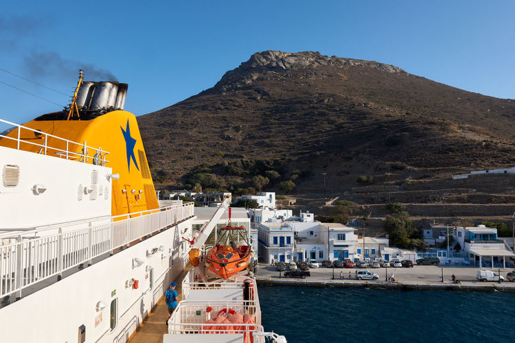 Amorgos Ferry Amorgos Architecture Boat Building Exterior Built Structure City Clear Sky Cruise Ship Day Greece Katapola Mode Of Transportation Mountain Mountain Range Nature Nautical Vessel No People Outdoors Passenger Craft Sea Sky Transportation Travel Water