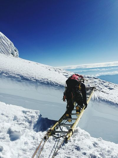 Ladder needed.... Crevasse Chopicalqui Mountain Peru Andes Cordillera Blanca Mountaineering Climbing Ice Snow Glacier Mountaineerslife