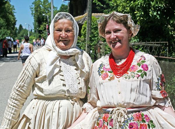 Ladies wearing national dress,Cigoc,village of storks,1,Croatia,EU Cigoc Croatia Day Enjoyment Eu Fun Happiness Ladies Lifestyles National Dress Outdoors Portrait Smiling Toothy Smile Tradition