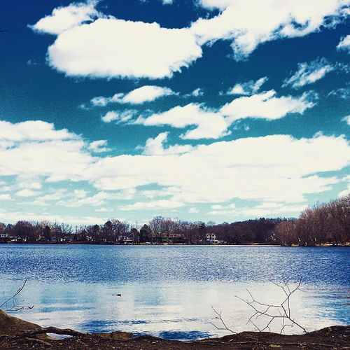 The sky looks ridiculous today Lake Pentucket Roundpond Skyporn Sky Clouds Beautifulday Windy Water Iwanttofish Reflection Bluesky Sunisshining Gorejizz Scrumdiddlyumptious Hardcoreskyporn