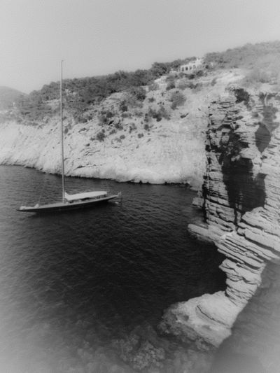 Ibiza. Yacht. Reminder Monochrome Light And Shadow Dreaming Black & White Remember Summer  Remember Summertime Summer Views The Great Outdoors - 2016 EyeEm Awards Blackandwhite Black And White Taking Photos Capture The Moment Black And White Collection  Seaphotography Yacht Yachts Yachting Yachtlife Sailing Sailing Boat Classic Boats Rock Formation Bay Cove
