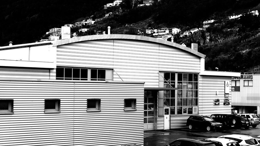 Architecture Automotive Bnw Bnw_captures Bnw_collection Building Exterior Built Structure Cars City Corrugated Iron Day Garage Lines No People Outdoors Tree