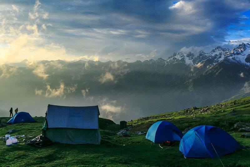 Trekking in the Land of Gods. Sar Pass, India. Mountain Tent Landscape Travel Lake Camping Sky Adventure Cloud - Sky Nature Mountain Range Outdoors Summer Blue Panoramic Beauty No People Water Tea Crop Day Let's Go. Together.