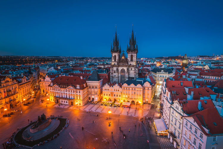 Architecture Blue Building Exterior Built Structure City Cityscape High Angle View History Illuminated Night No People Outdoors Panoramic Prague Sky Town Square Travel Destinations