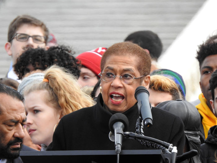 Congresswoman Eleanor Holmes Norton (D-DC) speaks to hundreds of high school students attending the National School Walkout on the National Mall in front of the US Capitol building, Washington, DC, to demand political action to address gun violence on March 14, 2018. Activists Eleanor Holmes Norto National School Walk Out US Capitol Building Activism Gun Control Gun Violence High School Students Protesters Young Adult