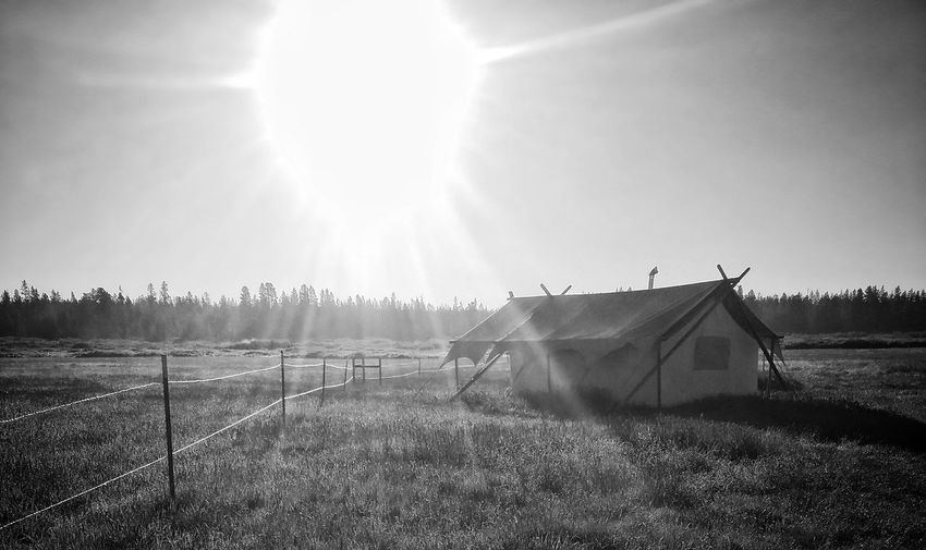 Campin in le ole country Tent Blackandwhite Camp Outdoors Tranquil Scene No People Field Nature Warm Love Weather Sunrays Grass Camping Wyoming