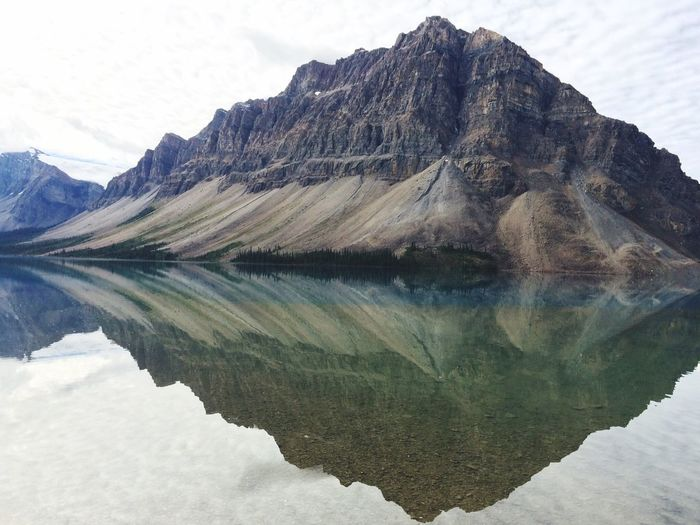 Canadian Rockies  Lake Mirroring In Water Bow Lake