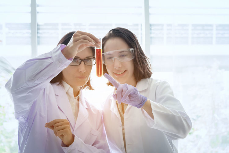 Scientists working together in laboratory
