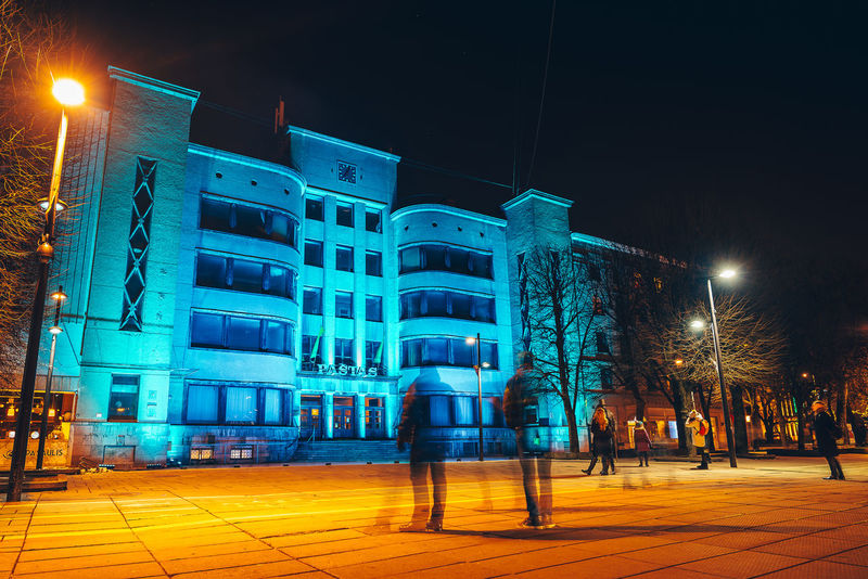 Colorful building. Lights festival City Lietuva Architecture Building Exterior Built Structure City Colorful Illuminated Lighting Equipment Lights Festival Long Exposure Men Night Outdoors People Sky Street Light