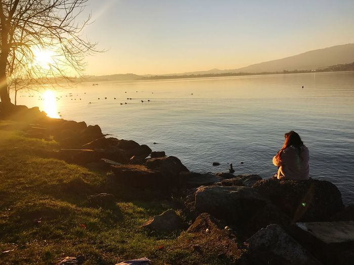 Sunset Travel Destinations Light And Shadow Lovetravelingtheworld Outdoors Beauty In Nature Scenics Lifestyles Nature Street Light Sky Water Orange Color Travel Photography Tourism Love Lake View