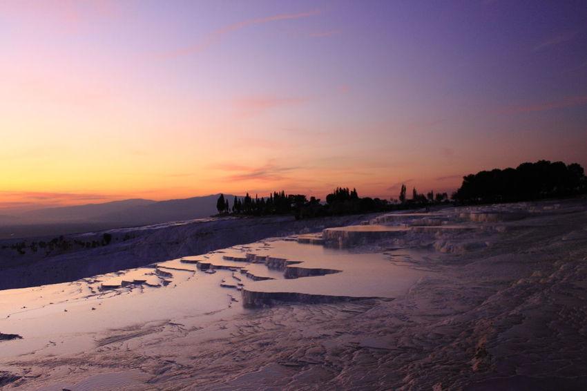The Travertines of Pamukkale during sunset Pamukkale Cotton Castles Pamukkale/Turkey Turkey Cold Temperature Landscape Pamukkale Salt - Mineral Sunset Travertine