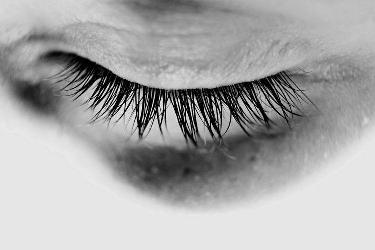 Cropped Image Of Closed Human Eye