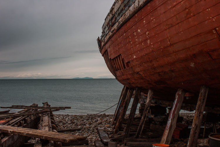 wrecked ship on