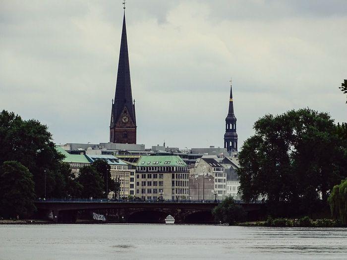 Hamburg Skyline Architecture Tower History Urban Skyline Cityscape Built Structure River Building Exterior Churchtower