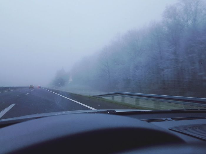 FogyNature Fall Water City Fog Road Car Sky Car Point Of View Vehicle Interior Car Interior Windshield