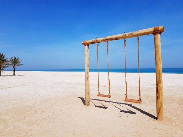 Beach Sand Sea Sunny Sky Blue Day No People Outdoors Water Clear Sky Nature Horizon Over Water Summer