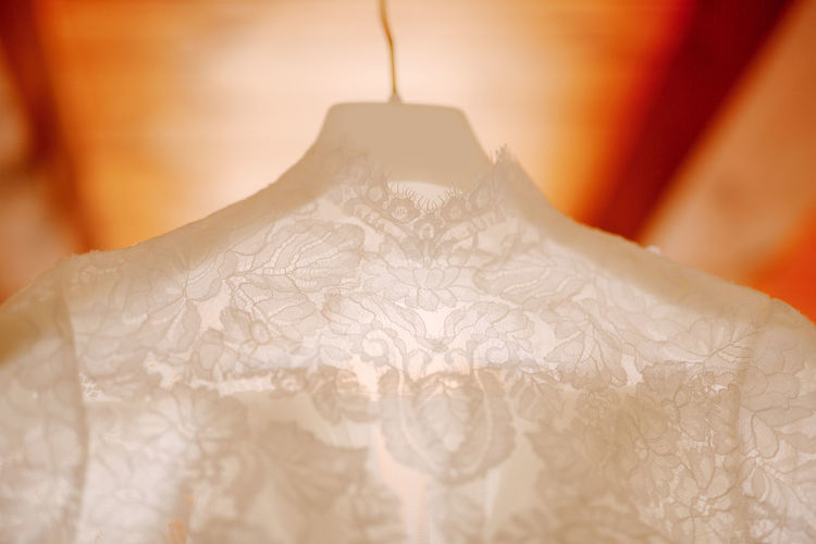 Close-up of white curtain