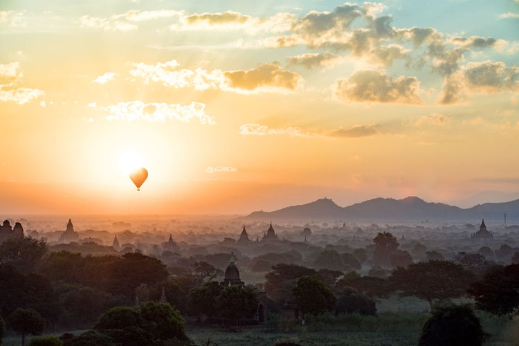 Temple at bagan archaeological zone during sunset