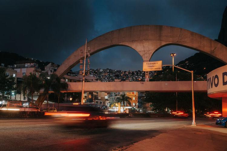 Pedestrian bridge that leads to the rocinha favela, rio de janeiro, brazil at night
