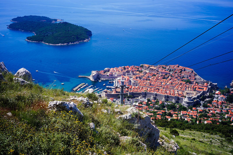 Top view of Dubrovnik, Croatia Architecture Building Exterior Water Built Structure High Angle View Sea City Building Plant Nature Residential District Day No People Transportation House Tree Cityscape Land Blue Outdoors TOWNSCAPE Game Of Thrones Croatia Old Town Top View Shot