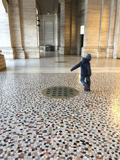 Textured  Textures Architectural Column Full Length Built Structure One Person Flooring Floor Travertine Stone Material Boy Little Rome Italy Your Ticket To Europe Your Ticket To Europe Your Ticket To Europe