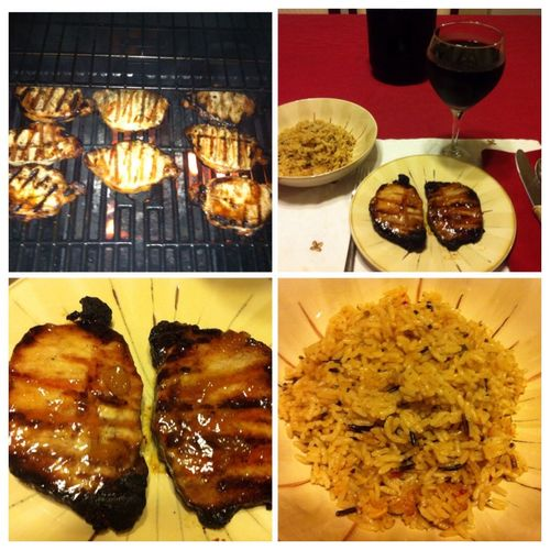 Tonight I grilled boneless pork chop, with an Asian sweet and sour glaze, served with a side of Spanish rice and our 2012 Italian Barbera wine. ICanCookMyAssOff Nomnombomb TheExpensiveWinos MyFoodPics