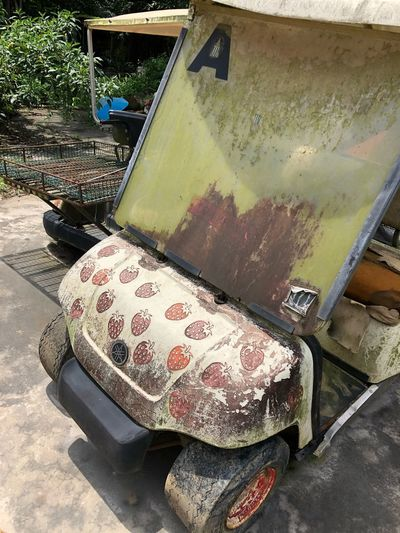 A grime-covered Strawberry Golf cart The Letter A Strawberry Golf Cart Dirty Seen Better Days Grime Sunlight Day High Angle View Nature No People Outdoors Transportation Mode Of Transportation